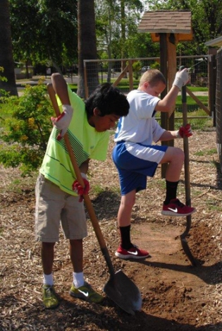 Students from Tesseract's 5th grade dig in the garden.